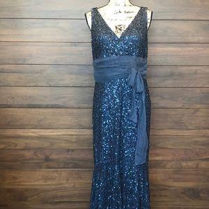 Sequin Floor length Blue V Neck Dress and V Back
